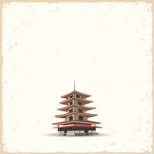 Japanese Pagoda On Grunge Back...