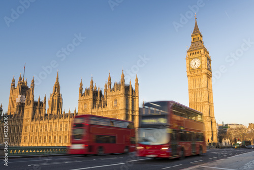 Aluminium Prints London red bus Big Ben and red buses