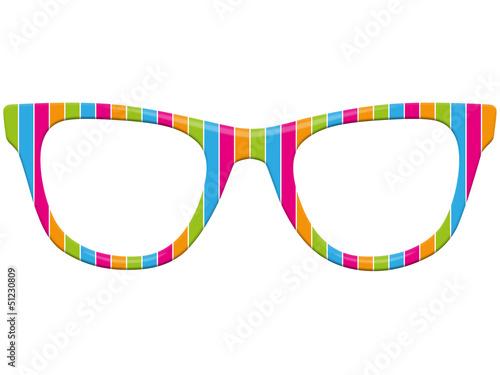 Fotografie, Obraz  Nerdbrille mit peppigen Streifen in frischen Frühlingsfarben