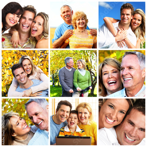 Happy family collage background. #51232816