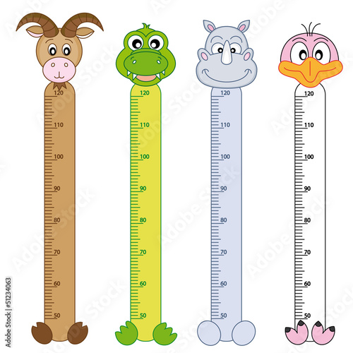 Printed kitchen splashbacks Height scale Bumper children meter wall. Wildlife Stickers