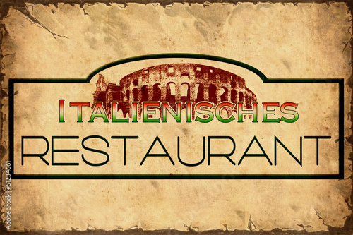 Photo sur Toile Affiche vintage Retroplakat - Italienisches Restaurant