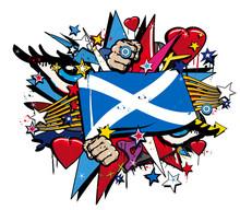 Scotland Flag Scottish Graffit...