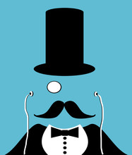 Man With Tall Top Hat And Earphones