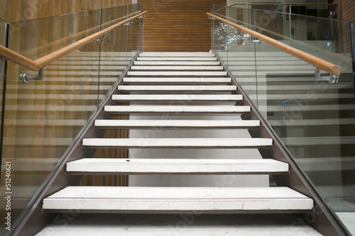 Wall Murals Stairs Modern white stairs with wooden handrail
