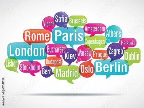 Photo  nuage de mots bulles : capitales d'europe