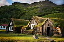 Traditional Icelandic Turf Houses Near Skógar