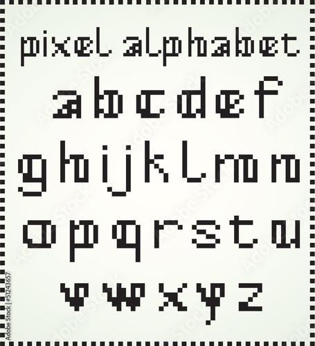 Foto op Aluminium Pixel Pixel Alphabet, Lower Case letters