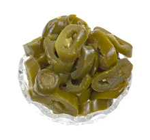 Canned Jalapeno Peppers In Glass Bowl
