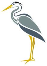 Stylized Great Blue Heron