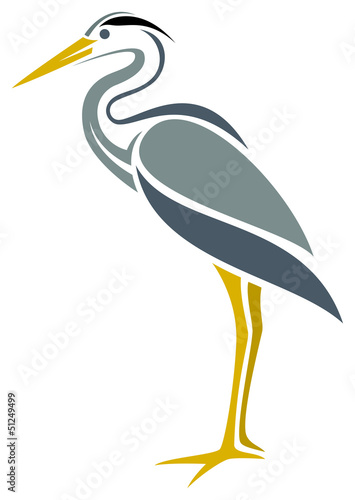 Stampa su Tela Stylized Great Blue Heron