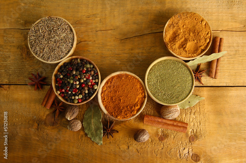Papiers peints Herbe, epice 2 bowls with spices, on wooden background