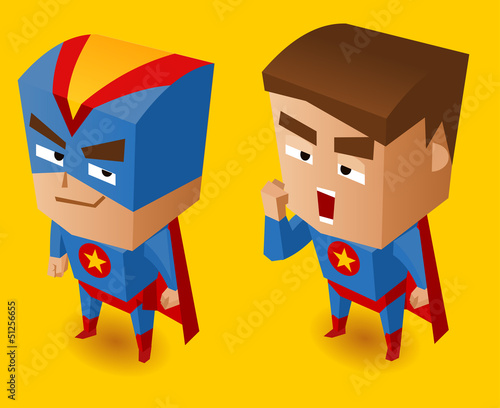 Aluminium Prints Superheroes Two Blue superheroes