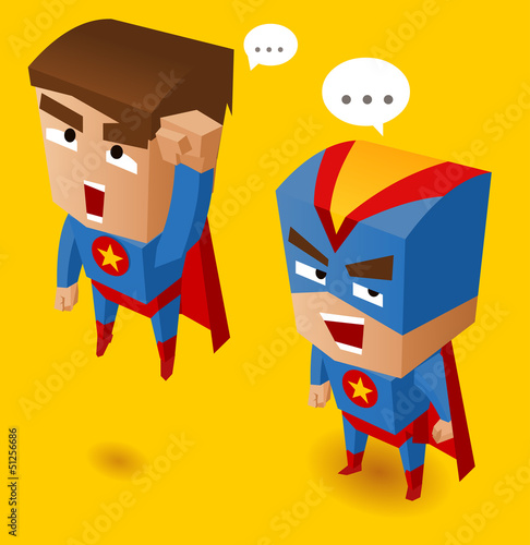 Door stickers Superheroes Two Blue superheroes
