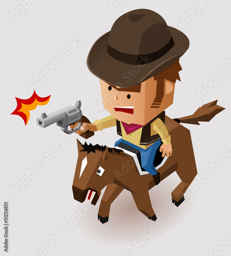 Deurstickers Wild West Sheriff with Revolver riding Horse
