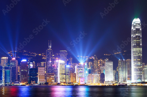 Photo  Hong Kong city skyline view at night