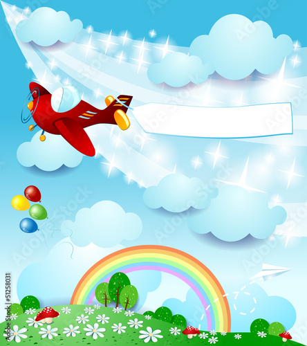 Tuinposter Vliegtuigen, ballon Spring landscape with airplane and banner