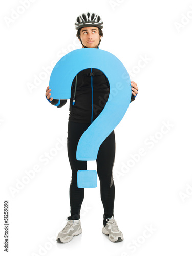 Fotografija  Young Male Cyclist Holding Question Mark