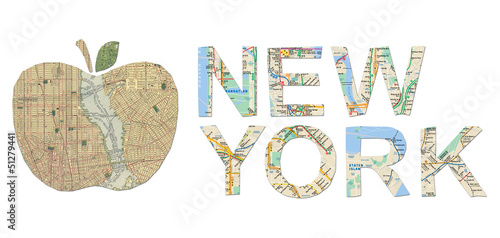 Pinturas sobre lienzo  New York words and big apple cut from an old New York map