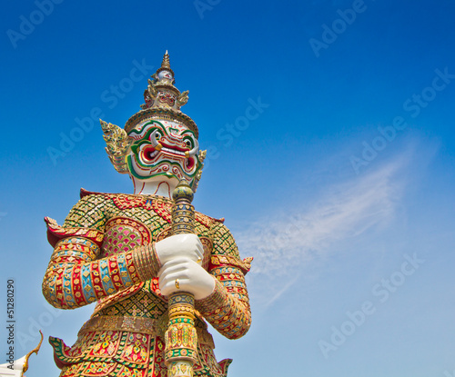 Giant statue at  Wat Phra Kaew in Bangkok of Thailand Wallpaper Mural