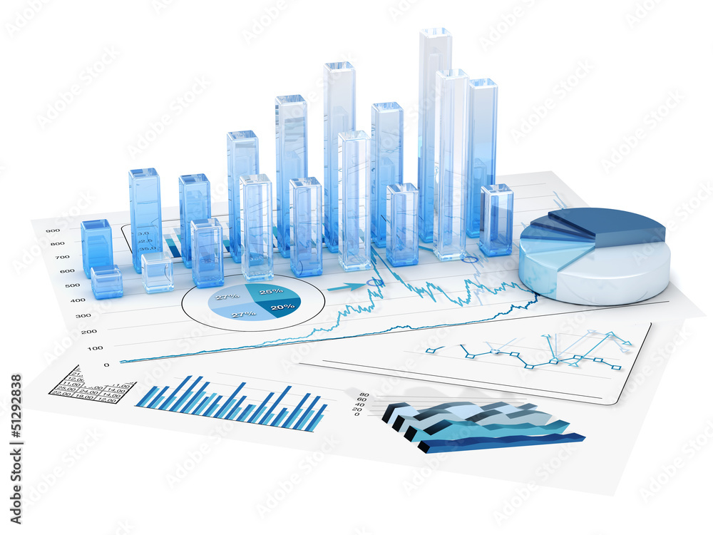 Fototapety, obrazy: Graphs of financial analysis - Isolated