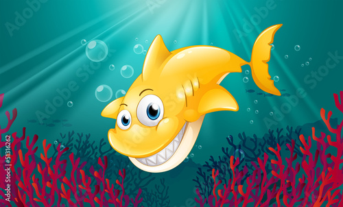 Aluminium Prints Submarine A yellow shark smiling under the sea