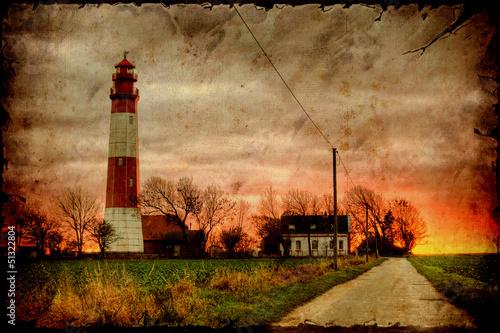 Foto op Plexiglas Vintage Poster Retroplakat - Leuchtturm am Abend