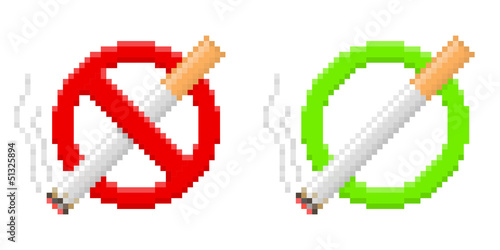 Wall Murals Pixel Pixel no smoking and smoking area signs. Vector illustration.