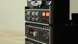 Retro Audio tape recorder, tilt shot, slow motion