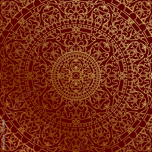 Photographie  Vector oriental blue background with gold ornament