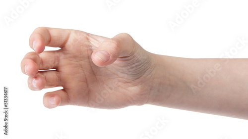 Fotografie, Obraz  female teen hand to hold something cylinder like a bottle