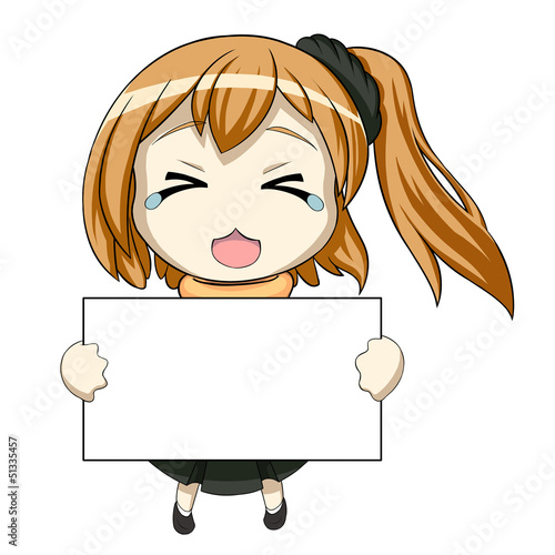 Shy chibi with a poster Wallpaper Mural
