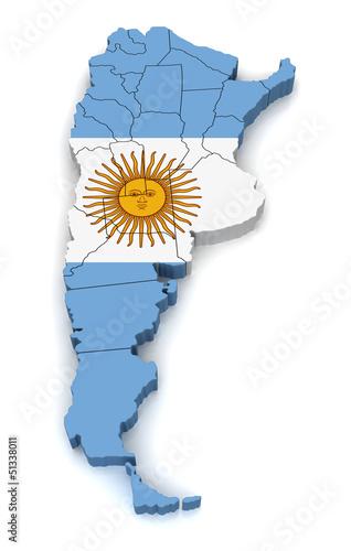 Fotografie, Obraz  3D Map of Argentina
