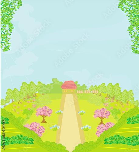 Tuinposter Purper Vector Landscape - Farm and fields