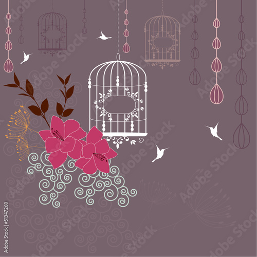 Poster Birds in cages Abstract floral background