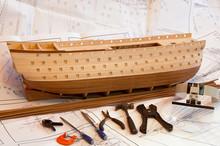 Unfinish Wooden Ship Model Hull