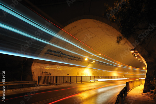 Lights of tunnel in the night - longexposure photography Poster