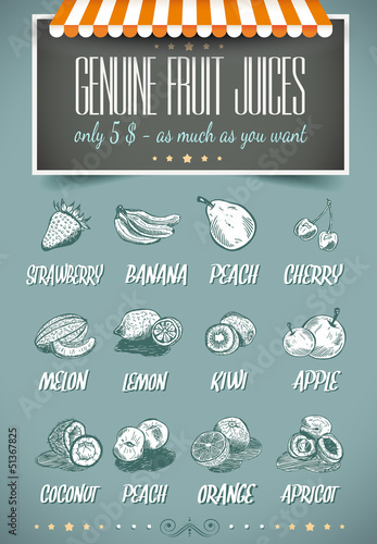 Papiers peints Affiche vintage Retro style template for genuine fruit juices menu