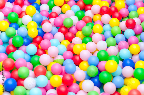 Photo  A lot of coloured plastic balls in playroom