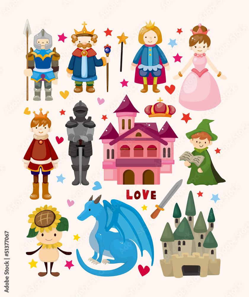 Plakat W Antyramie Zestaw Ikon Elementów Bajki