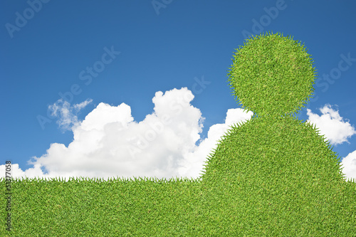 Foto auf Gartenposter Hugel Man icon on green grass texture and background