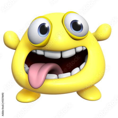Foto op Aluminium Sweet Monsters 3d cartoon cute yellow monster