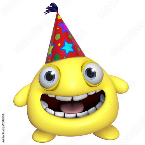 Poster de jardin Doux monstres 3d cartoon cute holiday yellow monster