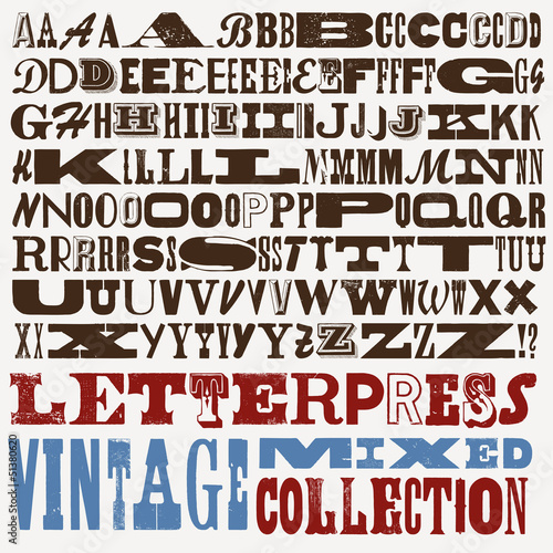 big mixed vintage letterpress collection Fototapet