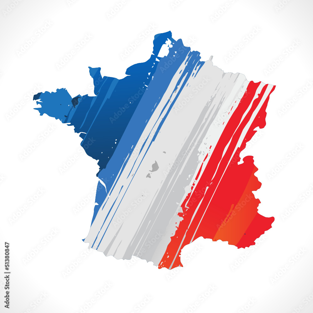 Fototapety, obrazy: carte de france et drapeau français