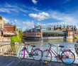 canvas print picture - Bridge, bicycles and canal. Ghent, Belghium