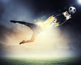 Fototapeta Sport - Goalkeeper catches the ball