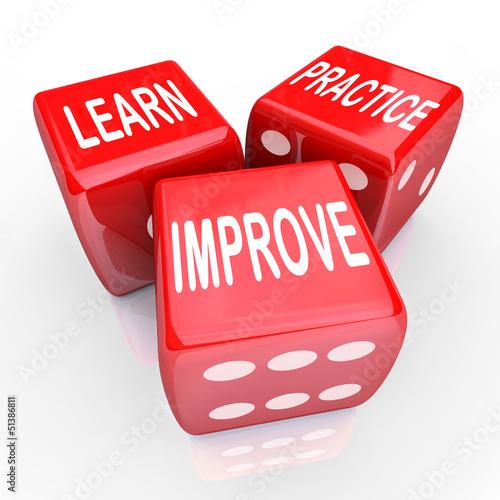 Fotografía  Learn Practice Improve Words 3 Red Dice