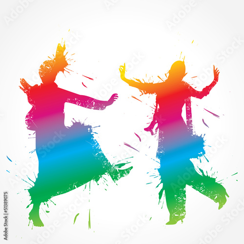 Fotografie, Obraz  Colorful bhangra and gidda dancer stock vector