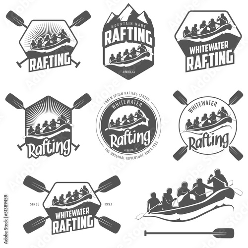 Set of vintage whitewater rafting labels and badges Wall mural